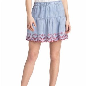 Vineyard Vines Scalloped Embroidered Flounce Skirt